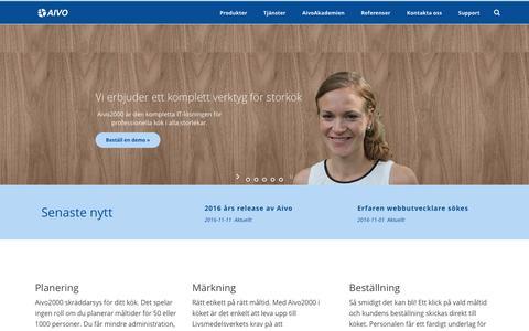 Screenshot of Home Page aivo.se - Vi erbjuder ett komplett verktyg för storkök   Aivo - captured Nov. 20, 2016