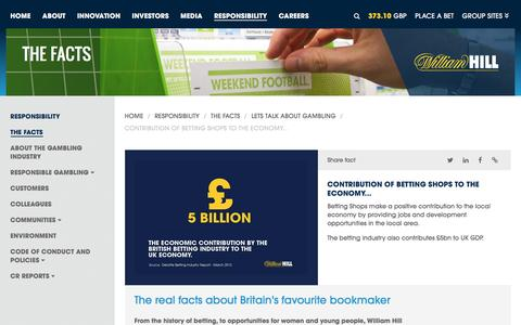 Screenshot of williamhillplc.com - William Hill PLC: Contribution of betting shops to the economy...                 - Lets talk about gambling                 - The Facts                 - Responsibility - captured March 19, 2016