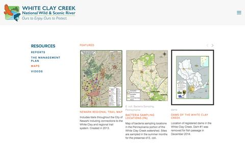 Screenshot of Maps & Directions Page whiteclay.org - Maps — White Clay Creek Wild & Scenic River - captured Feb. 27, 2016