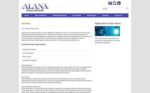Screenshot of Jobs Page alanahealthcare.com - Careers | Alana HealthCare - captured Sept. 13, 2014