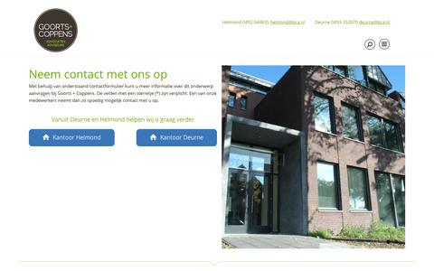 Screenshot of Contact Page gca.nl - Contact | Goorts + Coppens - captured Nov. 11, 2016