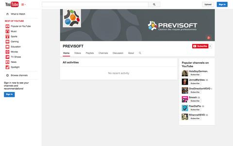 Screenshot of YouTube Page youtube.com - PREVISOFT  - YouTube - captured Oct. 22, 2014