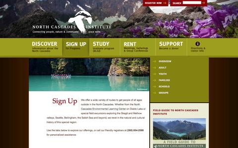 Screenshot of Signup Page ncascades.org - Sign Up — North Cascades Institute - captured Oct. 26, 2014
