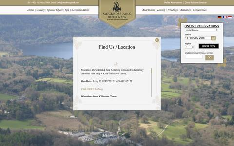 Screenshot of Contact Page muckrosspark.com - Contact the Muckross Park Hotel Killarney Co. Kerry - captured Feb. 14, 2016