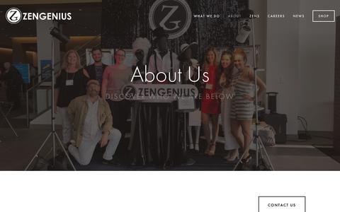 Screenshot of About Page zengenius.com - About — ZENGENIUS, INC. : Visual Merchandising, Event Merchandising & Creative Direction - captured Oct. 20, 2018