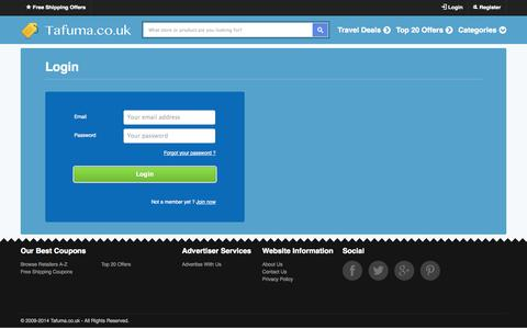 Screenshot of Login Page tafuma.co.uk - Tafuma.co.uk - Voucher Codes & Offer Deals - captured Nov. 4, 2014