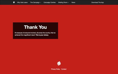 Screenshot of Home Page Privacy Page Contact Page voteleavetakecontrol.org - Thank You | Vote Leave - captured May 4, 2017