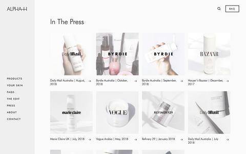 Screenshot of Press Page alpha-h.com - In The Press | Alpha-H Concentrated Skincare - captured Nov. 6, 2018