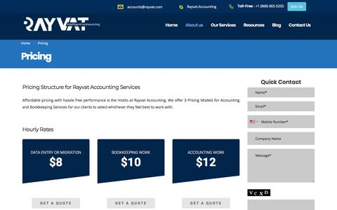 Screenshot of Pricing Page rayvataccounting.com - Pricing Models for Accounting and Bookkeeping Services - captured April 29, 2018