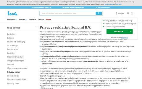 Screenshot of Privacy Page fonq.nl - Wij nemen je privacy uiterst serieus - captured July 13, 2018