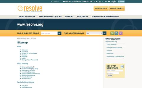 Screenshot of Site Map Page resolve.org - Sitemap - RESOLVE: The National Infertility Association - captured Jan. 17, 2016