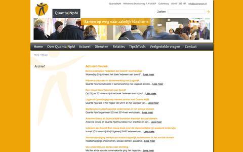 Screenshot of Press Page quantanpm.nl - Actueel :  Quanta NpM - captured Oct. 3, 2014