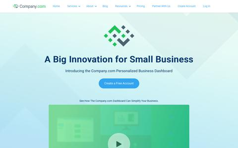 Screenshot of Home Page company.com - Company.com | Powering Small Business Productivity - captured July 26, 2019