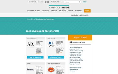Screenshot of Case Studies Page workplaceanswers.com - Case Studies and Testimonials » Workplace Answers - captured Nov. 5, 2014