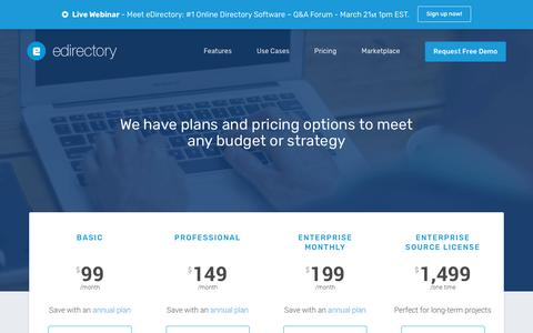 Screenshot of Pricing Page edirectory.com - eDirectory Pricing & Ordering - captured March 22, 2018