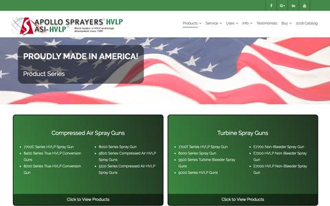 Screenshot of Products Page hvlp.com - Product Series | Apollo Sprayers HVLP - captured Oct. 3, 2018