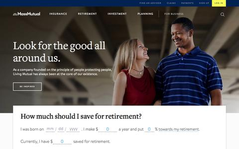 Screenshot of Home Page massmutual.com - Insurance and Financial Services – Live Mutual – MassMutual - captured April 24, 2018