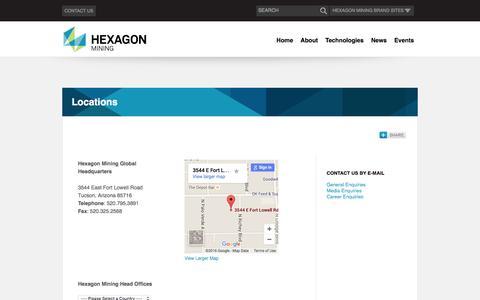 Screenshot of Locations Page hexagonmining.com - Locations | Hexagon Mining - captured Feb. 9, 2016