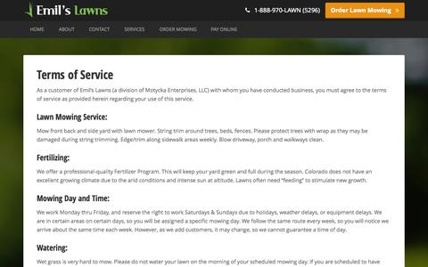 Screenshot of Terms Page emilslawns.com - Terms of Service · Emil's Lawns - captured Sept. 29, 2014