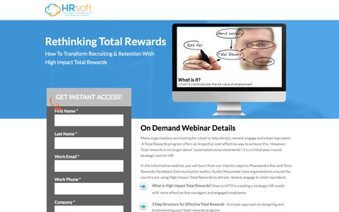 Screenshot of Landing Page hrsoft.com - Rethinking Total Rewards - captured Sept. 21, 2018