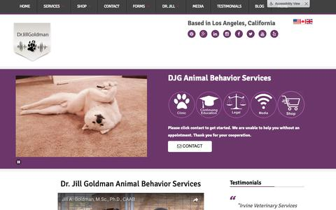 Screenshot of Home Page drjillgoldman.com - DJG Animal Behavior Services and Products - captured Sept. 27, 2018