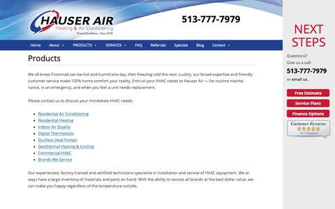 Screenshot of Products Page hauserair.com - Products - Hauser Air - captured Sept. 27, 2018
