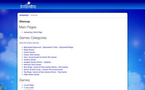 Screenshot of Site Map Page jackpotjoy.com - Sitemap - captured Oct. 27, 2014