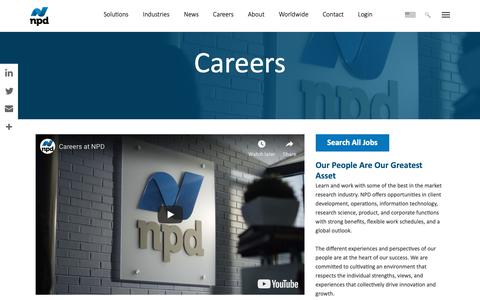 Screenshot of Jobs Page npd.com - NPD Group Careers & Employment Opportunities - captured Feb. 13, 2019