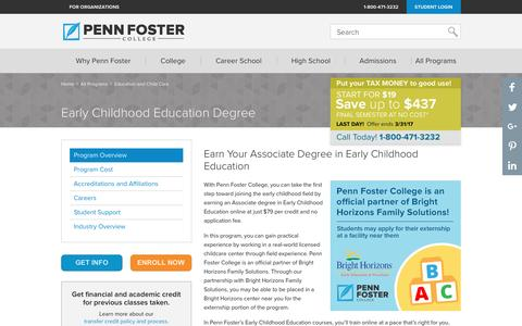 Early Childhood Education Degree Online| Penn Foster College