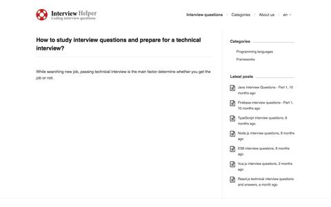 Screenshot of Home Page interviewhelper.org - Interview questions    InterviewHelper - captured Sept. 19, 2018