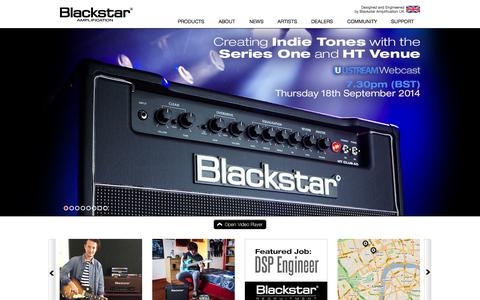 Screenshot of Home Page blackstaramps.com - Blackstar Amplification - Guitar Amplifiers, Amps, Pedals, Valves - captured Sept. 13, 2014