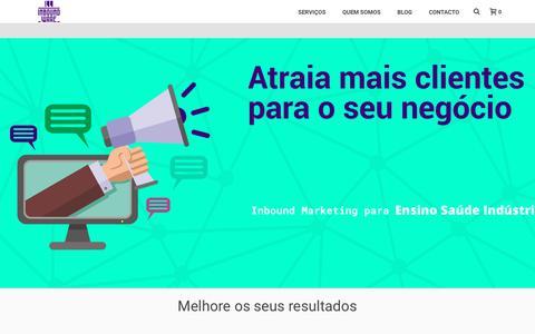 Screenshot of Home Page inboundware.pt - Inbound Marketing no Ensino, Saúde, Indústria e Turismo | Inboundware - captured Jan. 12, 2018