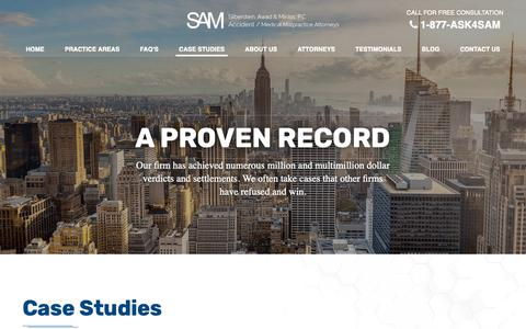 Screenshot of Case Studies Page ask4sam.net - Case Studies Archive - New York Personal Injury Lawyer   Silberstein, Awad & Miklos, P.C.   New York Personal Injury Lawyer   Silberstein, Awad & Miklos, P.C. - captured Oct. 18, 2018