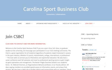 Screenshot of Signup Page csbcunc.com - Join CSBC! – Carolina Sport Business Club - captured Oct. 25, 2016