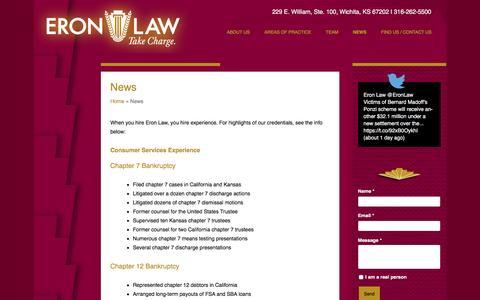 Screenshot of Press Page eronlaw.net - Chapter 7 Bankruptcy, Business Litigation, Bankruptcy Law - captured Nov. 10, 2016