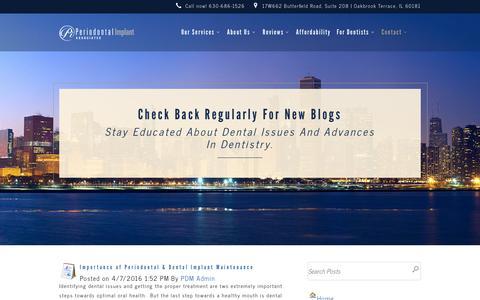 Screenshot of Blog pidentists.com - Dental Blog | Dental Implants in Chicago and Oak Brook, IL - captured April 12, 2016