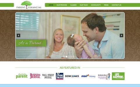 Screenshot of Home Page parent-financial.com - Parent Financial - Family Financial Planners Charlotte NC, Financial Advisors Charlotte - captured Sept. 30, 2014