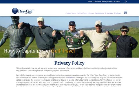 Screenshot of Privacy Page perrygolf.com - Golf Travel | Golf Scotland | Ryder Cup & British Open Information | Perry Golf - captured Feb. 18, 2018