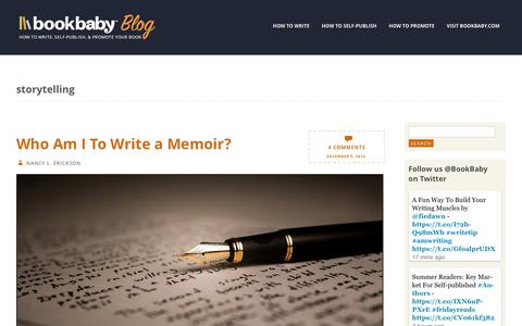 Screenshot of Blog bookbaby.com - storytelling | BookBaby Blog - captured Feb. 27, 2017