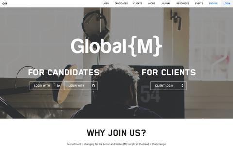 Screenshot of Login Page globalm.io - Global {M} - captured July 19, 2018