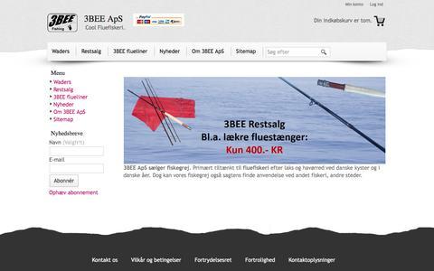 Screenshot of Menu Page 3bee.dk - 3BEE ApS - Cool Fluefiskeri. - captured June 18, 2017