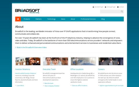 Screenshot of About Page broadsoft.com - BroadSoft: Executives, Careers and Office Directions - captured July 21, 2014