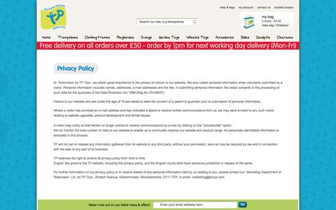 Screenshot of Privacy Page tptoys.com - Privacy Policy | TP Toys - captured Sept. 23, 2014