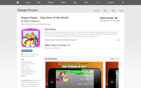 Screenshot of iOS App Page apple.com - Happy Puppy – Dog Hero of the World on the App Store on iTunes - captured Oct. 30, 2014