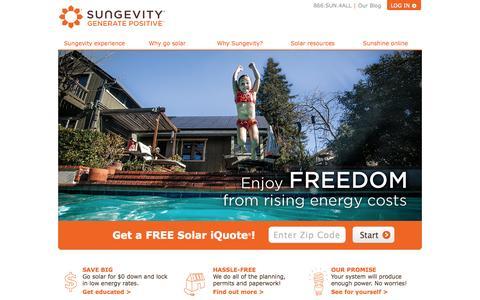 Screenshot of Home Page sungevity.com - Sungevity | Home Solar  | Go Solar and Save! | Sungevity - captured Sept. 17, 2014