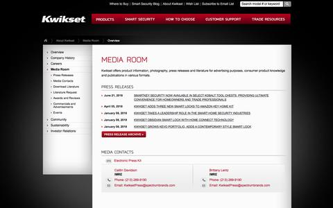 Screenshot of Press Page kwikset.com - Kwikset : About Kwikset : Media Room - captured Aug. 19, 2018