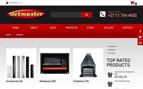 Screenshot of Products Page jetmaster.co.za - Products - JetmasterJetmaster - captured Jan. 15, 2018