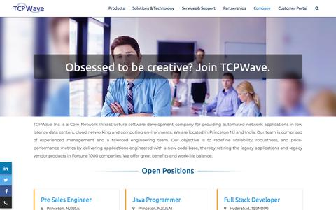 Screenshot of Jobs Page tcpwave.com - Careers - captured Aug. 21, 2019