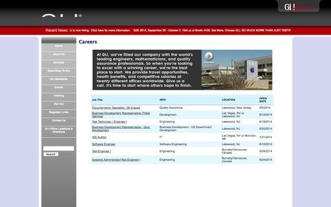 Screenshot of Jobs Page gaminglabs.com - Careers - captured Oct. 1, 2014