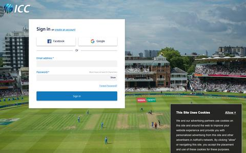 Screenshot of Login Page icc-cricket.com - Live Cricket Scores & News International Cricket Council - captured Oct. 21, 2018